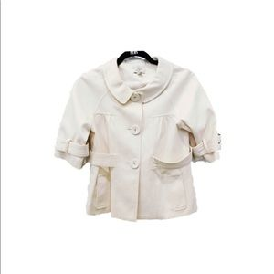 Ann Taylor Loft Ivory Short Peacoat Cape Jacket 4P